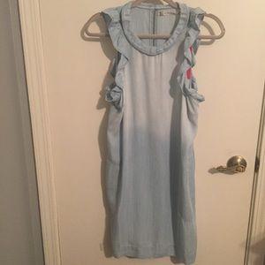 Chelsea & Violet Chambray Ruffle Shift Dress